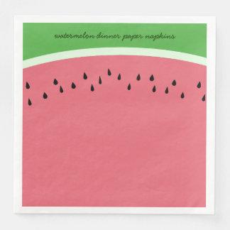 名前入りなピンクのスイカの夕食の紙ナプキン
