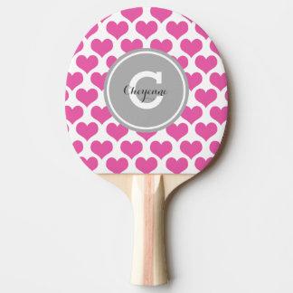 名前入りなピンクのハート 卓球ラケット