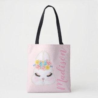 名前入りなピンクのバニーの顔の花柄 トートバッグ