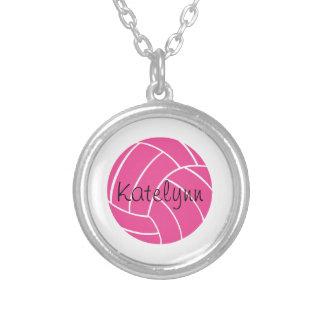名前入りなピンクのバレーボールのネックレス シルバープレートネックレス