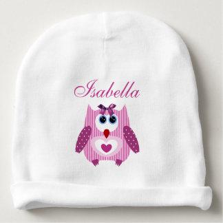 名前入りなピンクのフクロウの前部及び背部女の赤ちゃんの帽子 ベビービーニー
