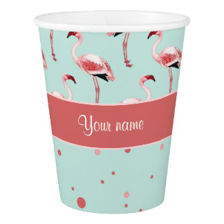 名前入りなピンクのフラミンゴの水玉模様 紙コップ