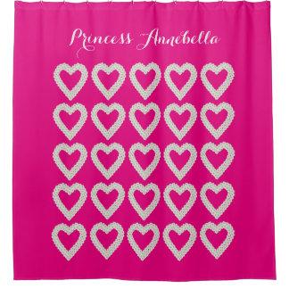 名前入りなピンクのプリンセスのシャワー・カーテン シャワーカーテン