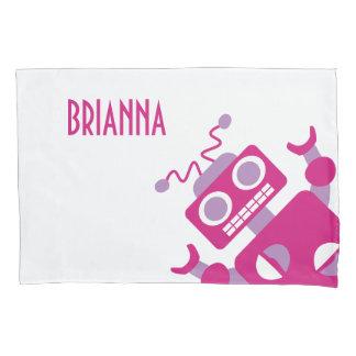 名前入りなピンクのロボットガーリーな熱狂するなロボットパターン 枕カバー