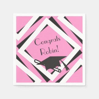 名前入りなピンクの卒業 スタンダードカクテルナプキン