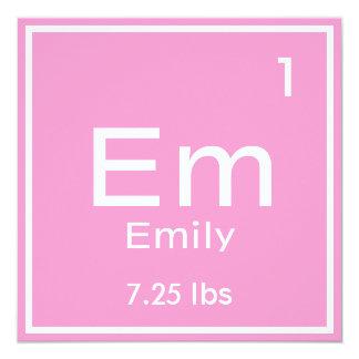 名前入りなピンクの女の赤ちゃんの要素 カード