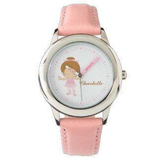 名前入りなピンクの小さいバレエダンサー{赤毛} 腕時計