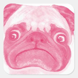 名前入りなピンクの気難しいPuggy スクエアシール