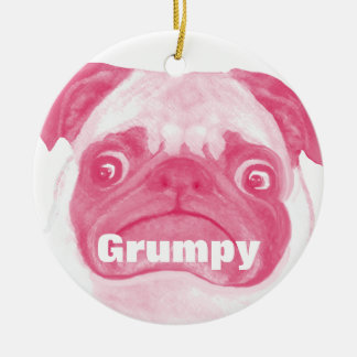 名前入りなピンクの気難しいPuggy セラミックオーナメント