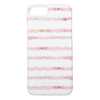名前入りなピンクの水彩画のブラシの打撃のストライプ iPhone 8/7ケース