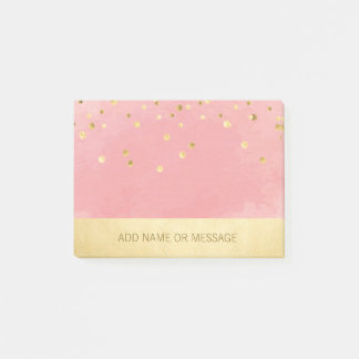 名前入りなピンクの水彩画の模造のな金ゴールドホイル ポストイット