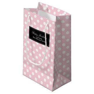名前入りなピンクの水玉模様 スモールペーパーバッグ