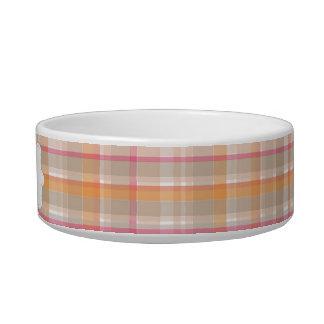 名前入りなピンク及びオレンジ格子縞 猫の水皿