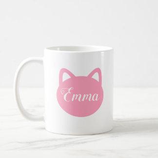 名前入りなピンク猫のマグ コーヒーマグカップ