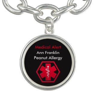 名前入りなピーナツアレルギーの医学警報 チャームブレスレット