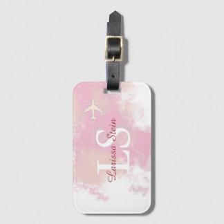 名前入りなフェミニンなピンクの水彩画 ラゲッジタグ