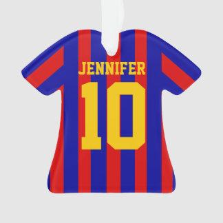 名前入りなフットボールのサッカーのワイシャツのストライプので赤い青い オーナメント