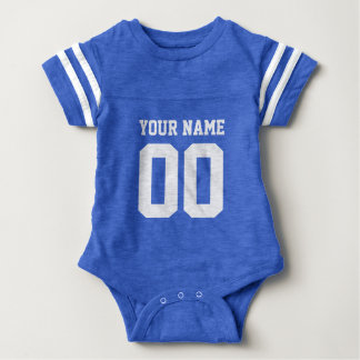 名前入りなフットボールのjersey数赤ん坊のジャンプスーツ ベビーボディスーツ