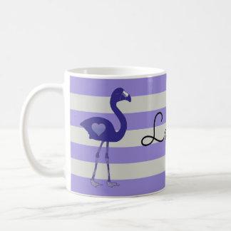 名前入りなフラミンゴのハートのマグ(紫色紫色) コーヒーマグカップ