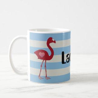 名前入りなフラミンゴのハートのマグ(赤SkyBlue) コーヒーマグカップ