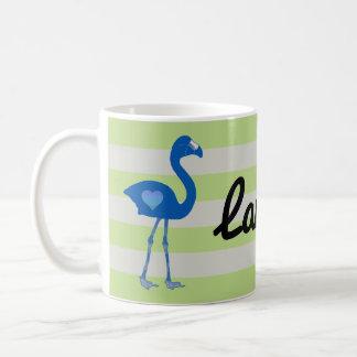 名前入りなフラミンゴのハートのマグ(青ネオン) コーヒーマグカップ