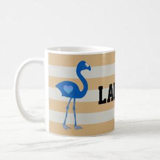 名前入りなフラミンゴのハートのマグ(青金ゴールド) コーヒーマグカップ