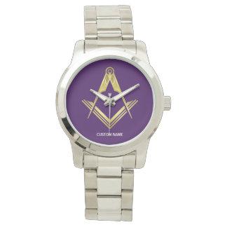 名前入りなフリーメーソンのギフト のフリーメーソン会員の腕時計 腕時計