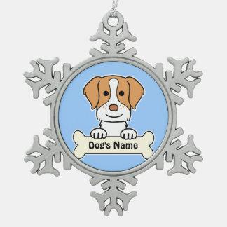 名前入りなブリッタニースパニエル犬 スノーフレークピューターオーナメント