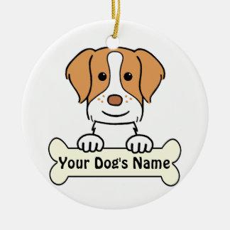 名前入りなブリッタニースパニエル犬 セラミックオーナメント