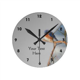 名前入りなブルーバードの自然 ラウンド壁時計