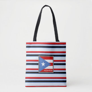 名前入りなプエルトリコの旗およびストライプ トートバッグ