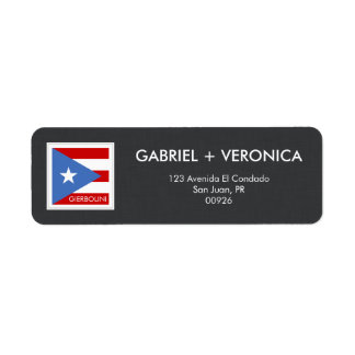 名前入りなプエルトリコの旗 ラベル