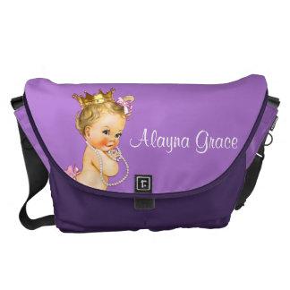 名前入りなプリンセスの紫色のベビーのおむつのバッグ メッセンジャーバッグ