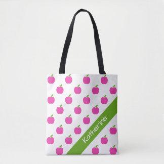 名前入りなプレッピーなピンクおよび緑のりんご トートバッグ