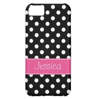名前入りなプレッピーなピンクおよび黒い水玉模様 iPhone5Cケース