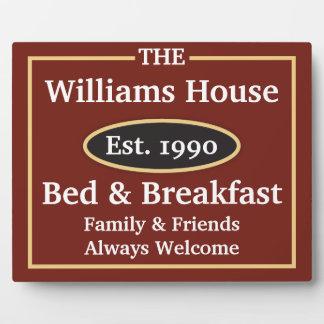 名前入りなベッド及び朝食の印 フォトプラーク
