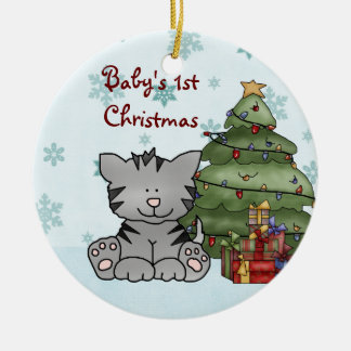 名前入りなベビーの第1クリスマス猫のオーナメント セラミックオーナメント