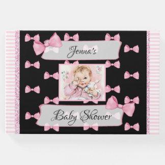 名前入りなベビーシャワーの来客名簿のピンクの黒 ゲストブック