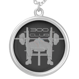 名前入りなベンチプレスの重量挙げのネックレス シルバープレートネックレス