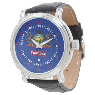 名前入りなペンシルバニアの州の旗のデザイン 腕時計