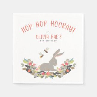 名前入りなホツプのホツプのHurrayのウサギの誕生会 スタンダードカクテルナプキン