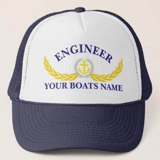 名前入りなボートの名前のいかりのモチーフエンジニア キャップ