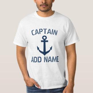 名前入りなボートの大尉の名前のいかりのTシャツ Tシャツ