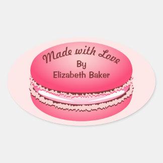 名前入りなポップアートのピンクのMacaronのクッキー 楕円形シール