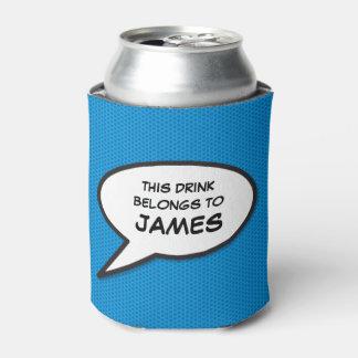 名前入りなポップアートの漫画本のスピーチの泡 缶クーラー