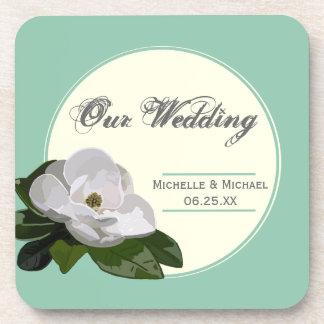 名前入りなマグノリアの花の結婚式のイベントのコースター コースター