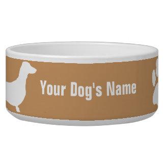 名前入りなミニチュアダックスフントのミニチュアの・のダックスフンド 犬用ごはん皿