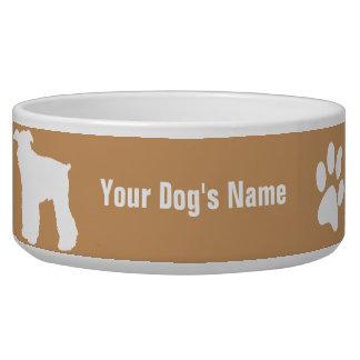 名前入りなミニチュア・シュナウツァーのミニチュアの・のシュナウザー 犬用水皿