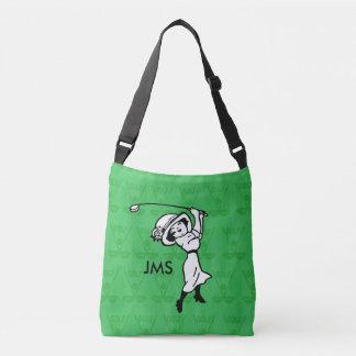 名前入りなメスのゴルフ漫画のゴルファー クロスボディトートバッグ