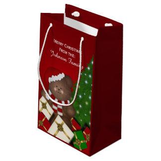 名前入りなメリークリスマスくまのギフトバッグ スモールペーパーバッグ